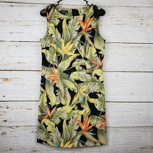 AGB Leaf Print Sleeveless Sheath Dress